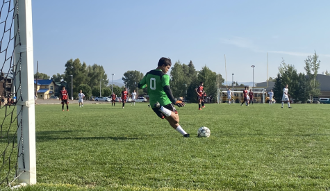 Senior Bogdan Maples booting a goal kick during the victory over Salida.